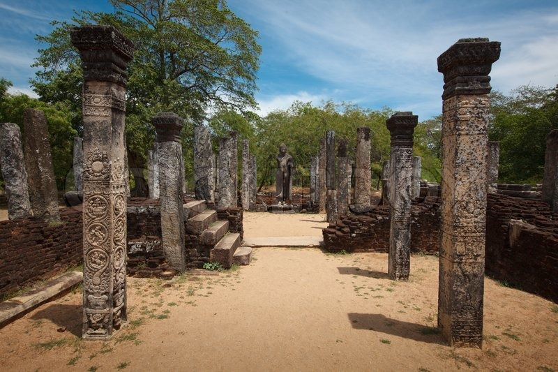 Ancient Stone Pillars : Pillars ruins ancient city of polonnaruwa sri lanka