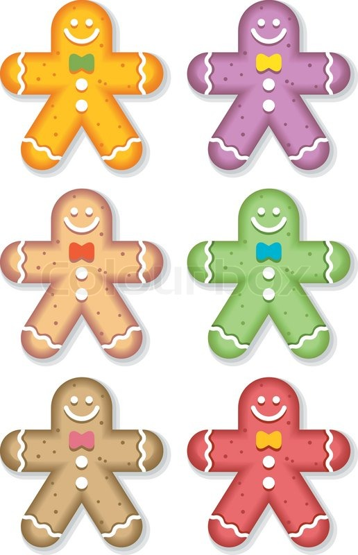 Seasonal Gingerbread Man Colored Stock Vector