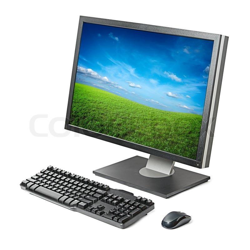 computer arbeitsstation monitor tastatur maus isoliert. Black Bedroom Furniture Sets. Home Design Ideas
