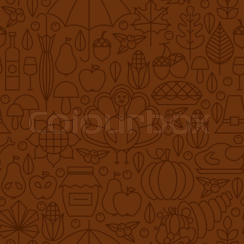 Thin Line Holiday Thanksgiving Day Brown Seamless Pattern. Vector Autumn Thanksgiving Dinner Design and Seamless Background in Trendy Modern Line Style. Thin Outline Art. Traditional National Celebration, vector