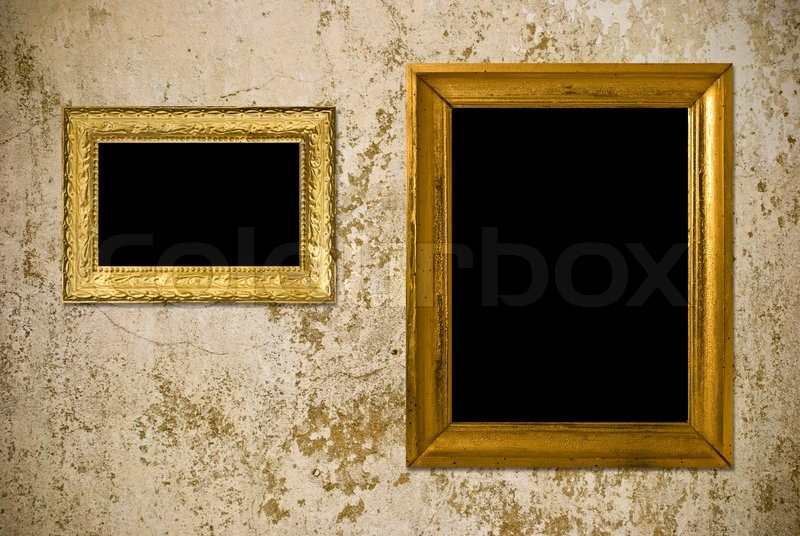 vintage wall frames. Old grunge wall with vintage gold frame  stock photo Stock Photo Colourbox