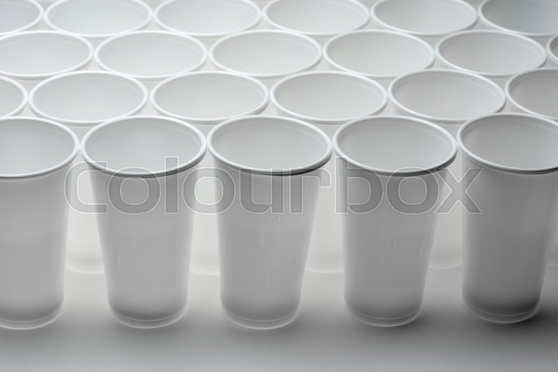 Large group of disposable plastic cups, stock photo