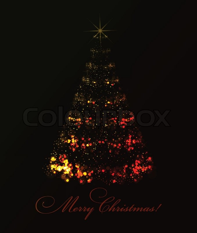 Abstract christmas tree on black background vector eps10 illustration easy to recolor stock - Schwarzer weihnachtsbaum ...