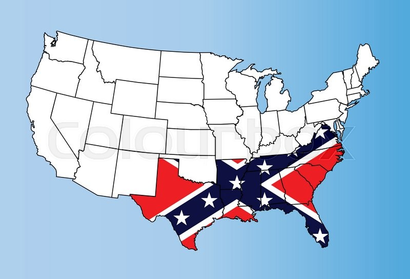 An Outline Map Of TheUnited States Of America Showing The - The confederate states us territories and united states map
