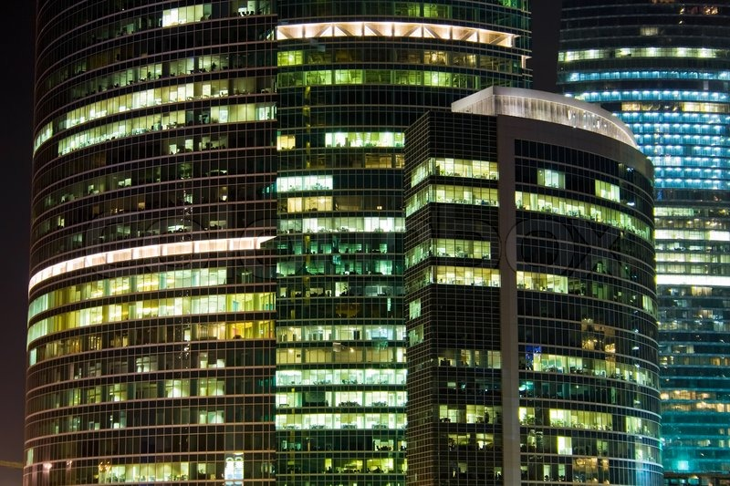 A Skyscraper Of International Business Centre Buildings At Night