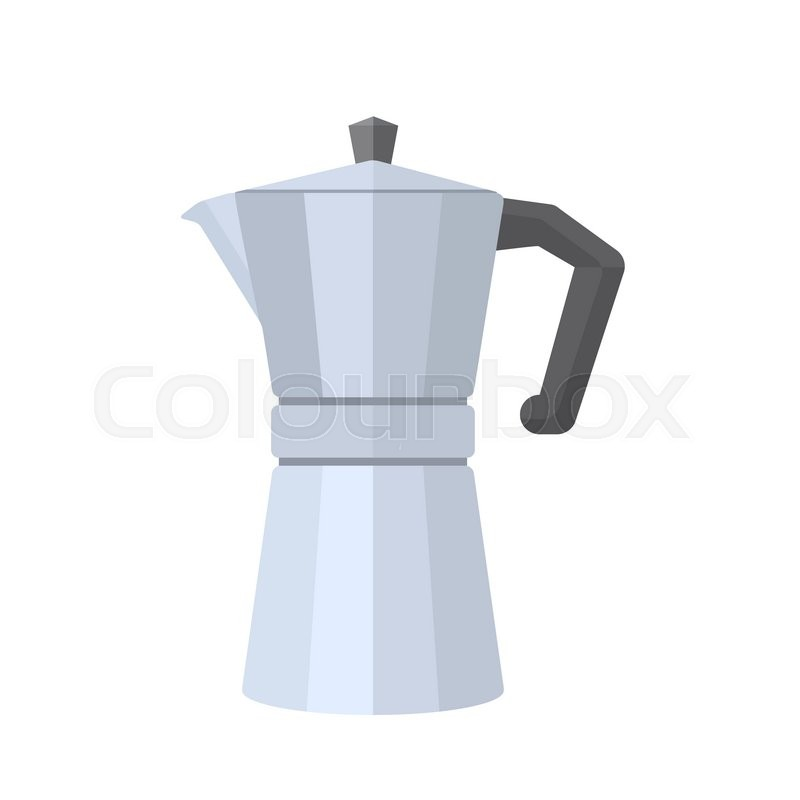 Italian Coffee Maker Vector : Vector flat design iron grey color metal retro italian coffee maker with cap and handle isolated ...