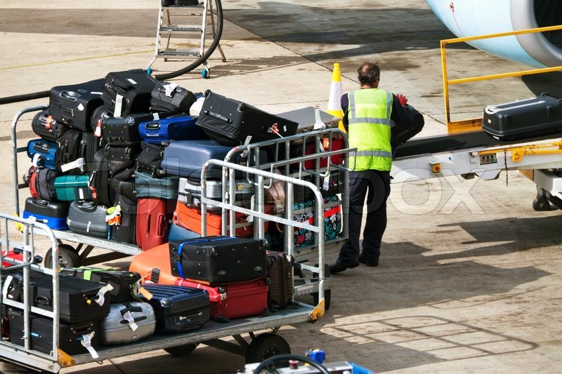 Many Suitcases Luggage When Loaded On An Airplane