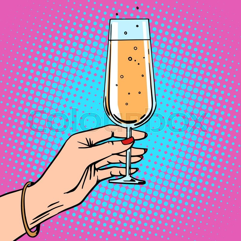 toast a female hand with glass of champagne celebration party theme birthday or new year retro style pop art stock vector colourbox