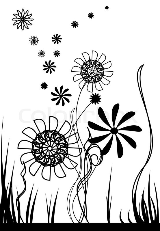 vector flowers  black and white