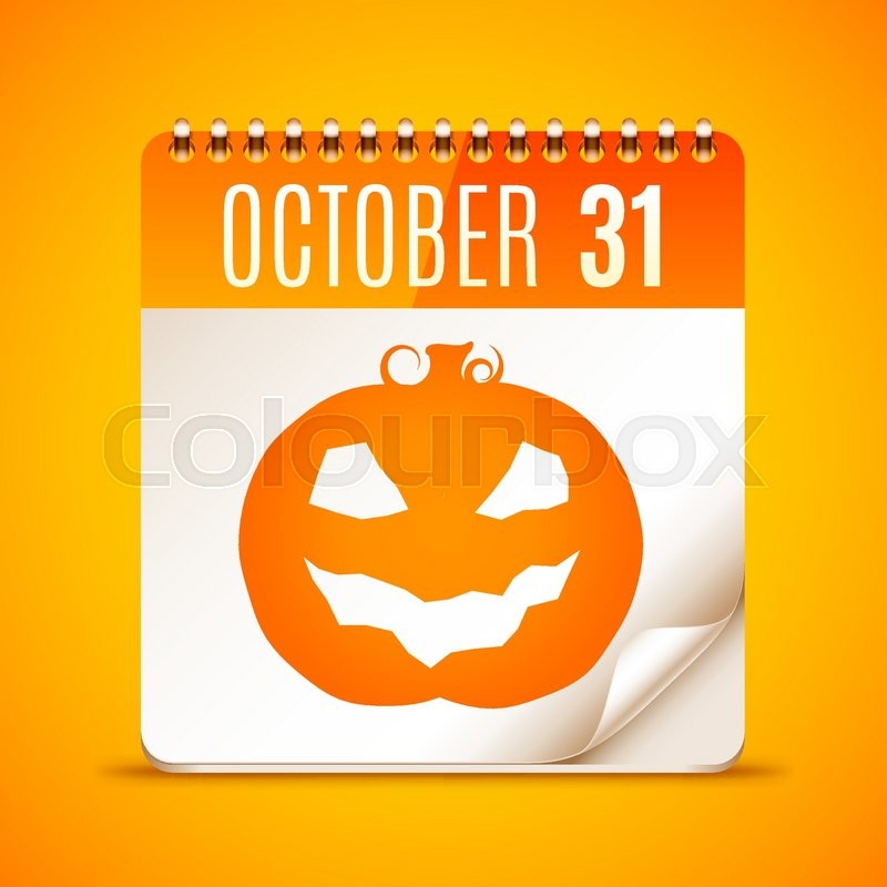 halloween calendar with october 31 date and pumpkin symbol stock vector colourbox