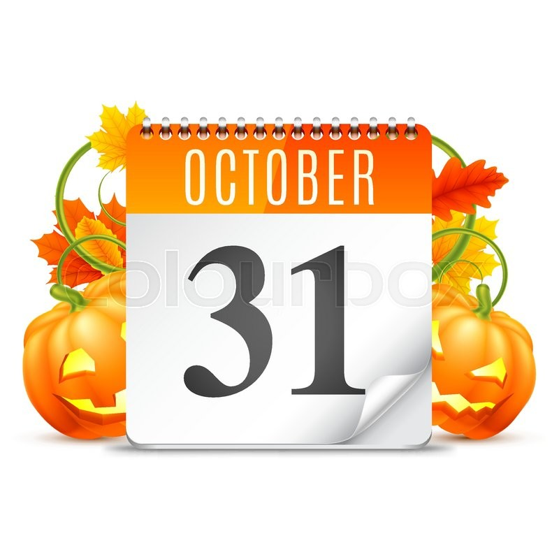 halloween calendar with october 31 date pumpkins and autumn leaves stock vector colourbox