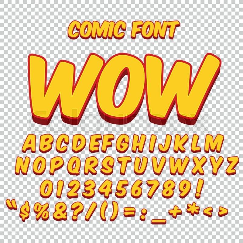 Comic Alphabet Set Gold Color Version Letters Numbers
