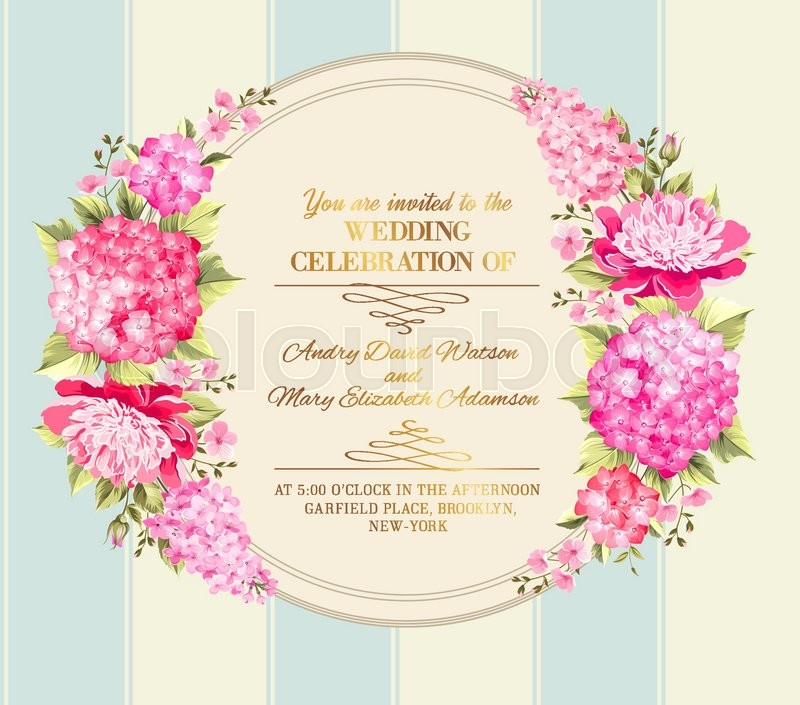 Wedding invitation card with pink flowers vintage wedding wedding invitation card with pink flowers vintage wedding invitation card template with boy and girl names and flower garland vector illustration mightylinksfo