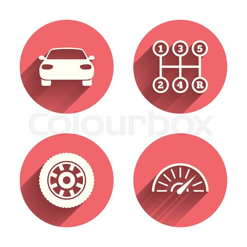 Transport Icons Car Tachometer And Mechanic Transmission Symbols