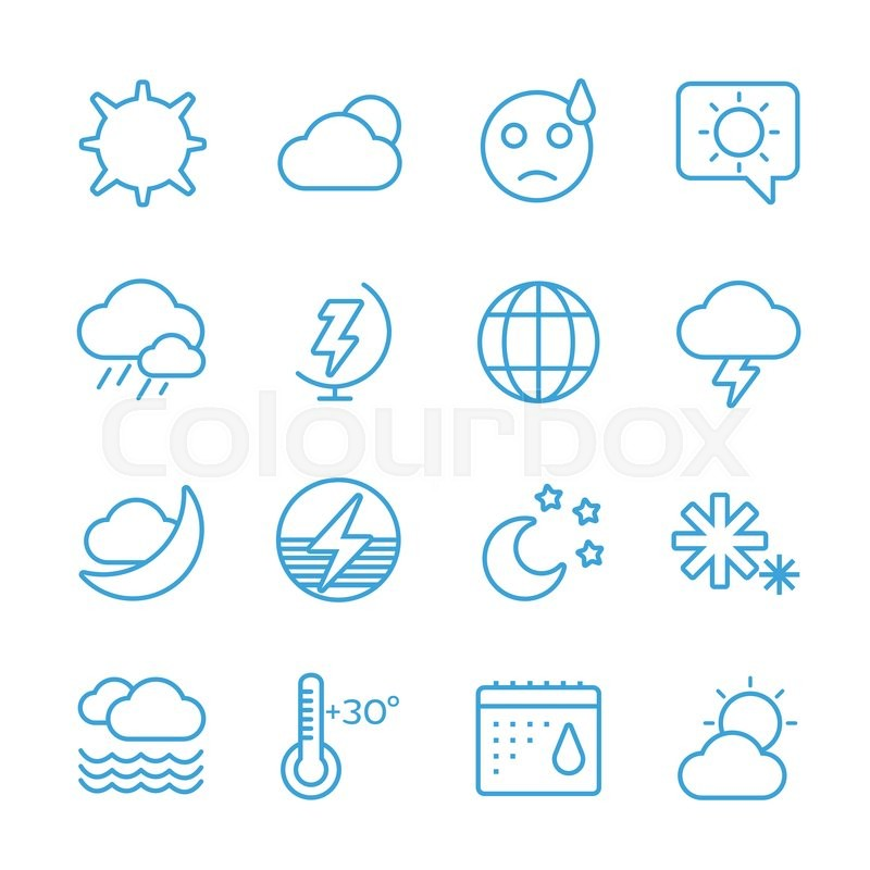 Weather Icons Outline Set Moon Sky Wind Cloud Umbrella And Wind