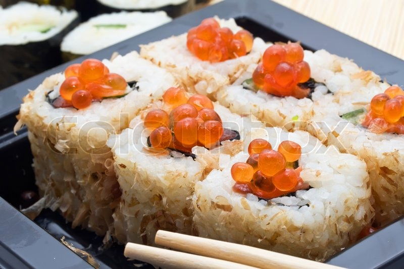 Traditional japanese food sushi close up stock photo for Authentic japanese cuisine