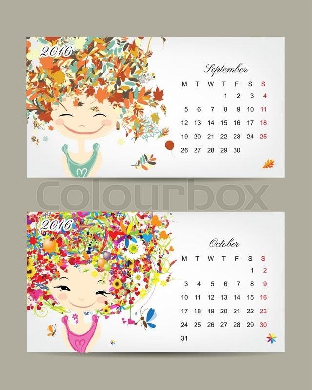 calendar 2016 september and october months season girls design