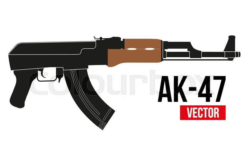 russian automatic machine rifle ak 47 in flat silhouette style