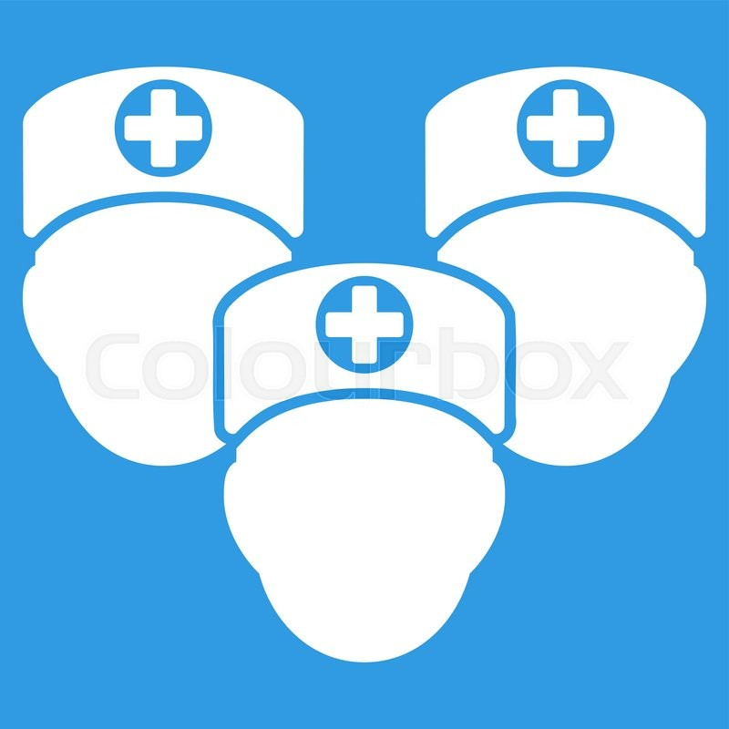 Medical Staff Vector Icon Style Is Flat Symbol White Color