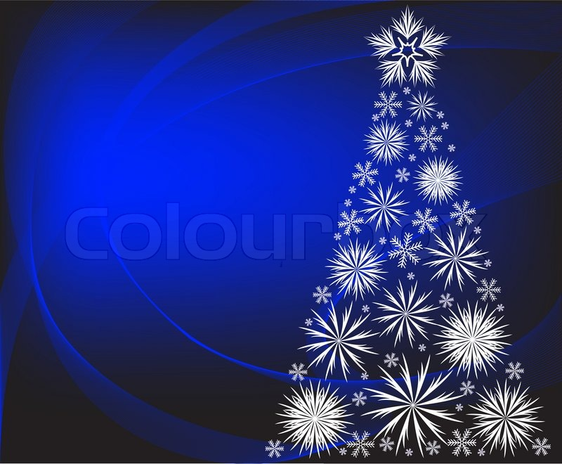 Christmas Tree With White Snowflakes On Blue Background