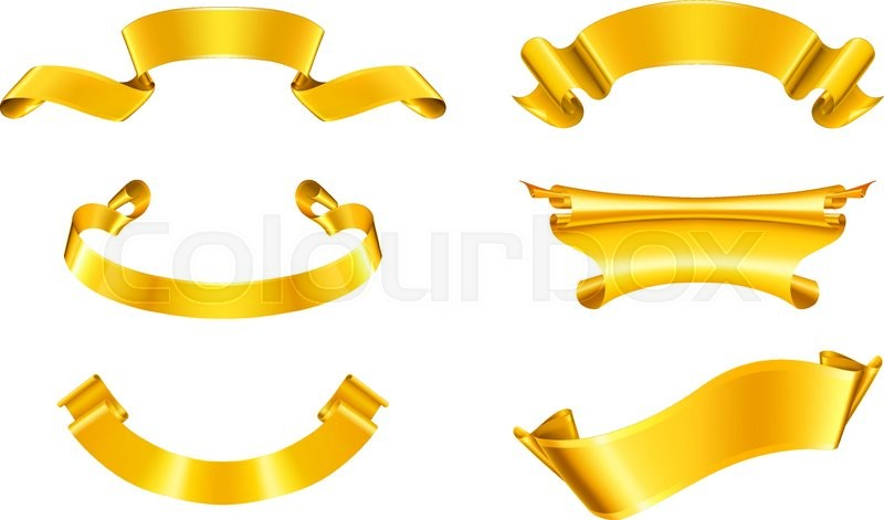 gold ribbons set stock vector colourbox
