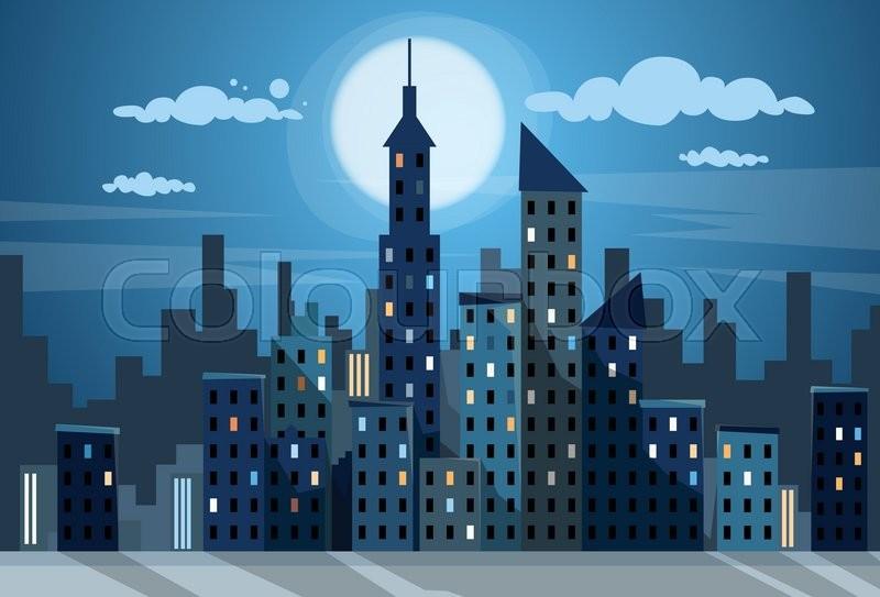 city skyscraper night view cityscape stock vector