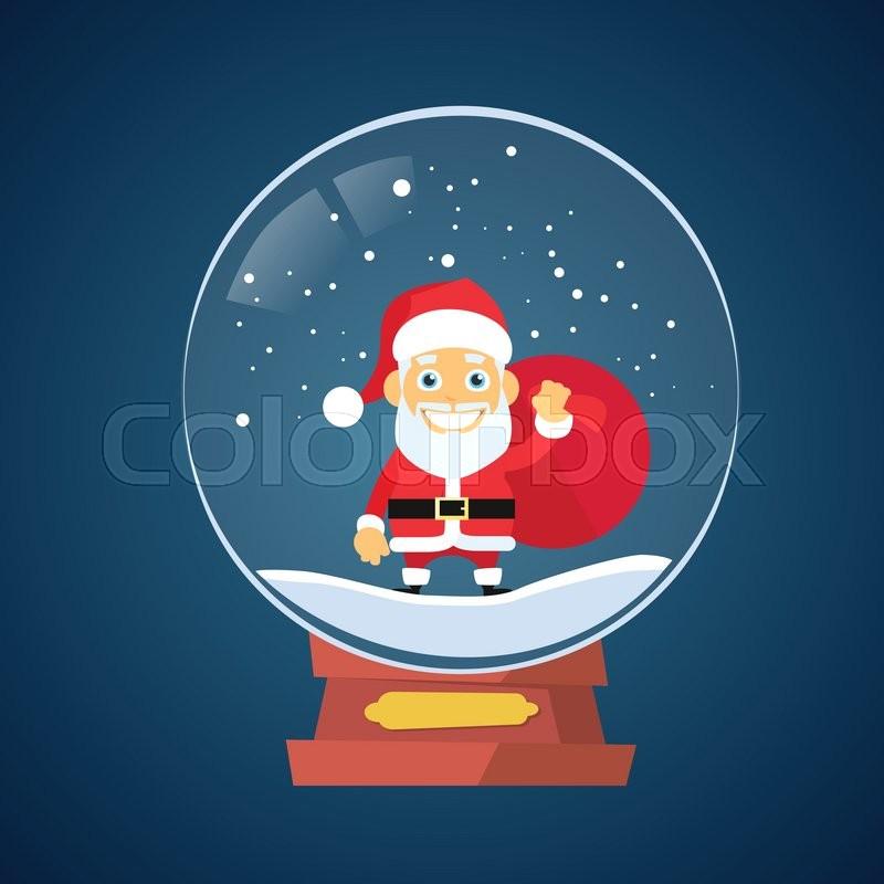 Santa Claus Cartoon Wish Glass Ball Christmas Holiday Winter Snow Flat  Vector Illustration, vector