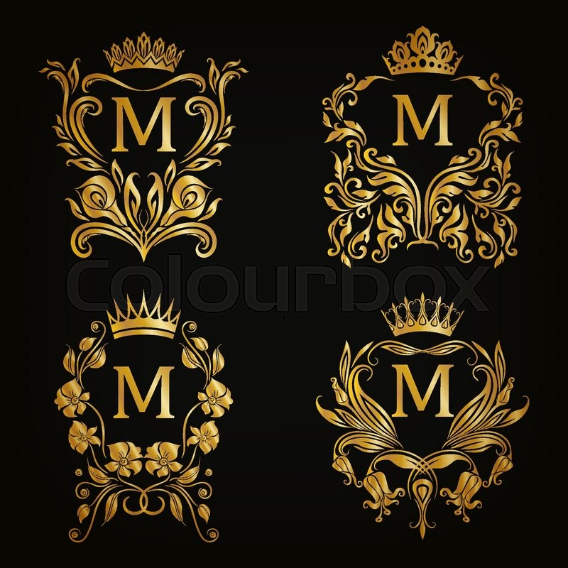 Set of gold monogram for graphic design on black ...