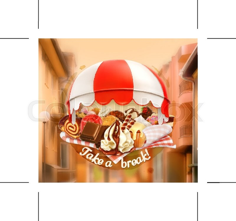 Coffee And Pastry Shop Confectionery Promotional Sign Street Background Invitation To A Break Lunch Time Vector Advertising Signboard For Chocolate