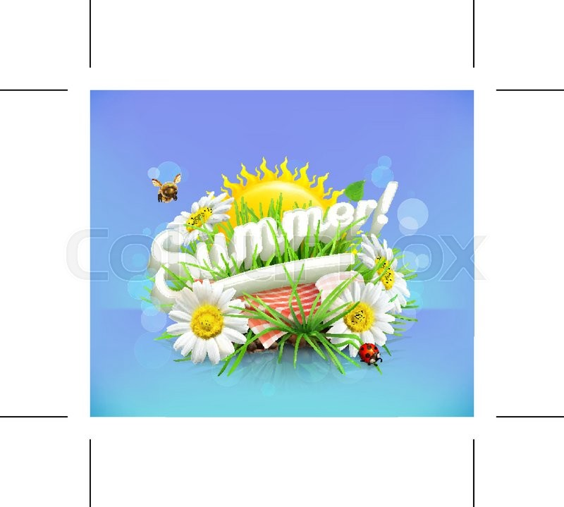 Summer, time for a picnic, nature, outdoor recreation, a tablecloth and sun behind, grass, flowers of chamomile, vector illustration showing the summertime, vector