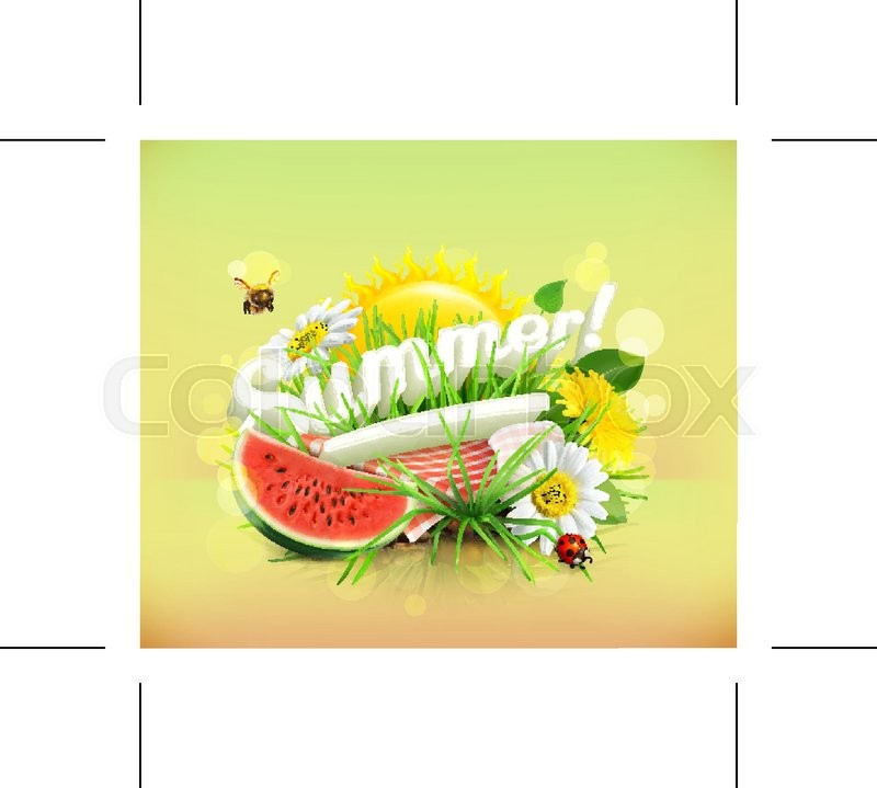 Summer, time for a picnic, watermelon, nature, outdoor recreation, a tablecloth and sun behind, grass, flowers of chamomile and dandelion, vector illustration showing the summertime, vector