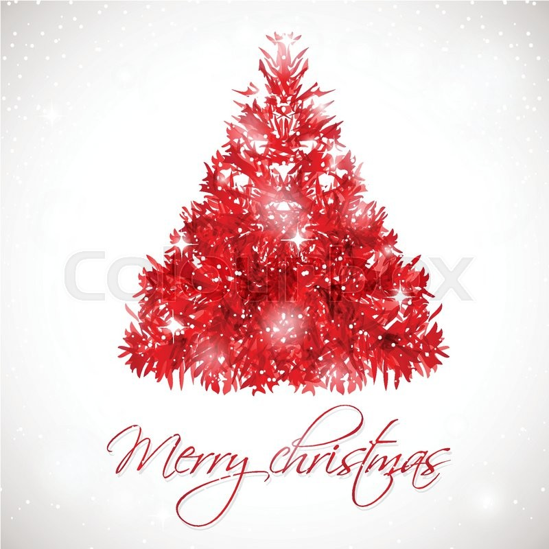 Red abstract Christmas tree on white background with ...