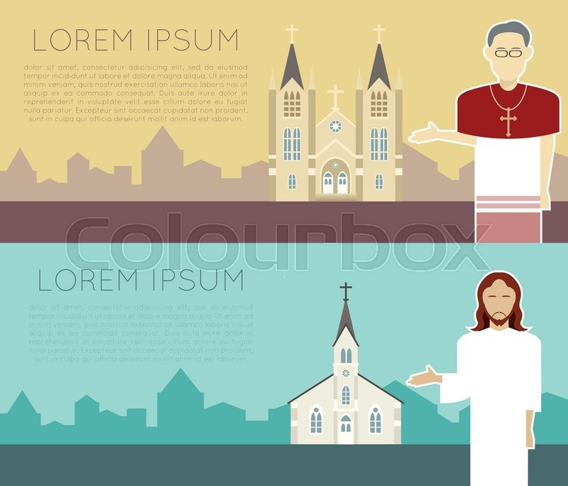 Vector image of a catholic church banner, vector