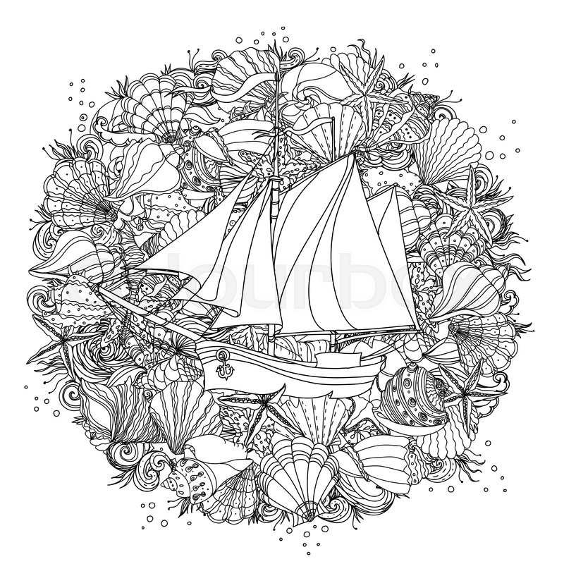 Circle Black And White Ornament Of Seashells Starfish Seaweed With Sailboat Could Be Use For Coloring Book In Zentangle Style Vector
