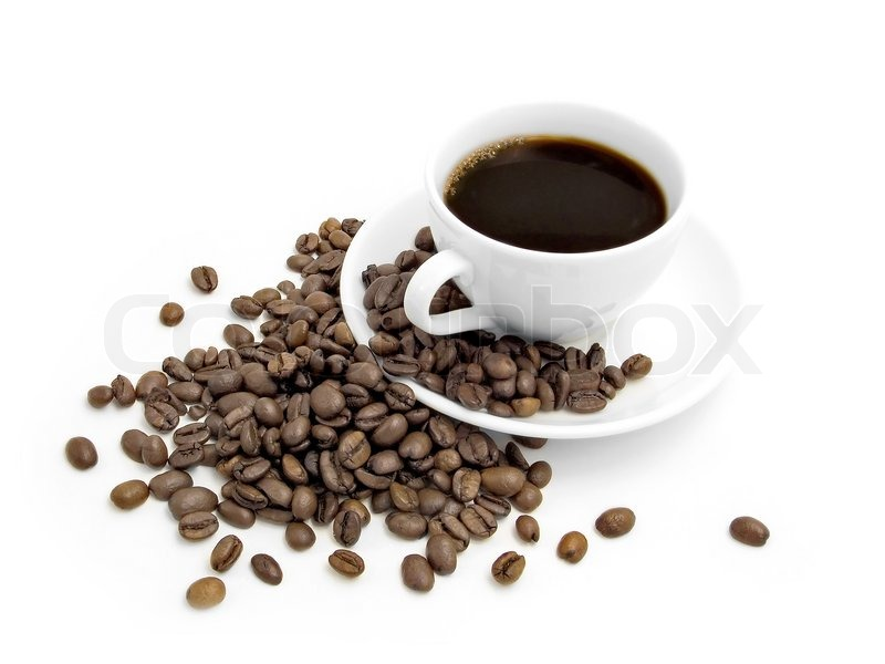 Stock image of 'Coffee cup and coffee beans isolated on a white background.'