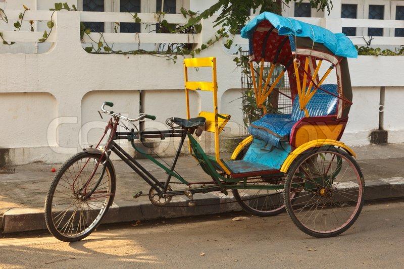 Empty Bicycle Rickshaw In Street Pondicherry South India