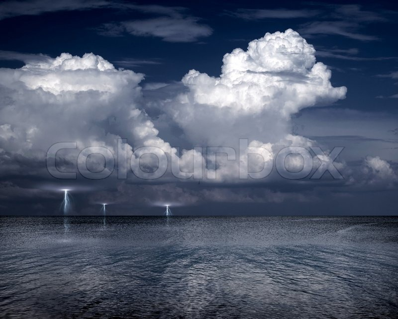 Lightning Storm Over Sea