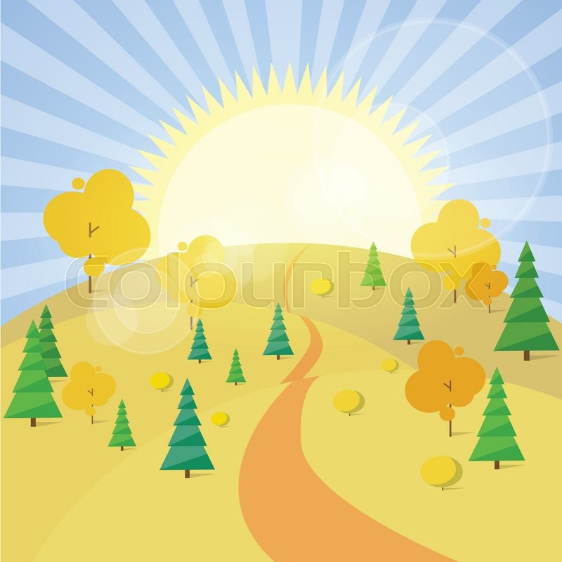Autumn Landscape Mountain Forest Road Blue Cloud Sky With Sun Tree Woods Flat Design Vector Illustration, vector