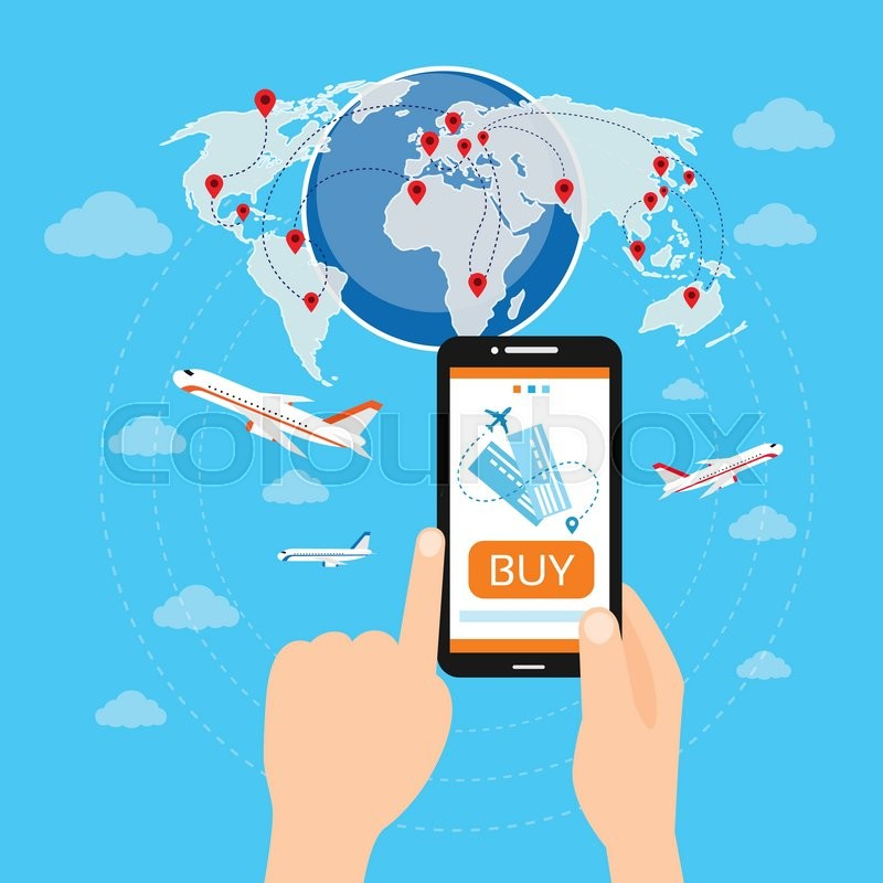 Buy Travel Tickets Online: Buy Ticket Online Smart Phone Application Globe World Map
