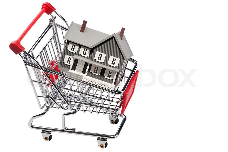 House Model In A Shopping Cart Isolated On A White Background Add Your Text To The Space