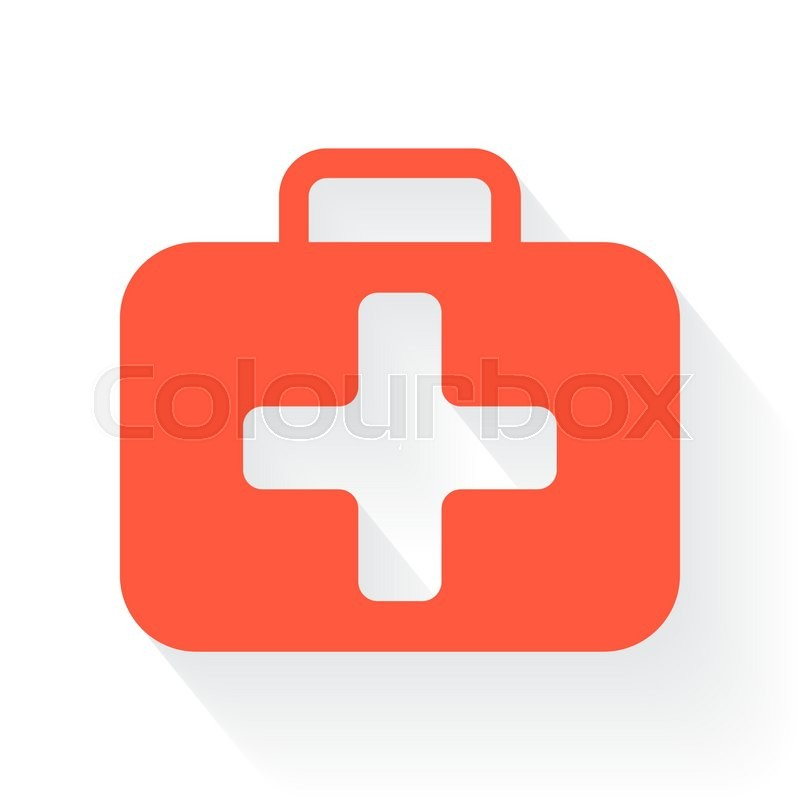 Orange First Aid Kit Symbol With Drop Shadow On White Background