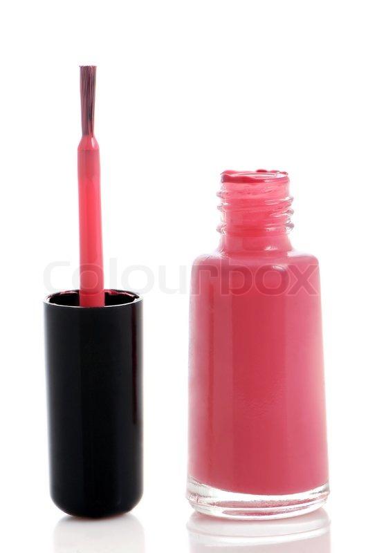 Bottle of nail polish with brush on white background | Stock Photo ...