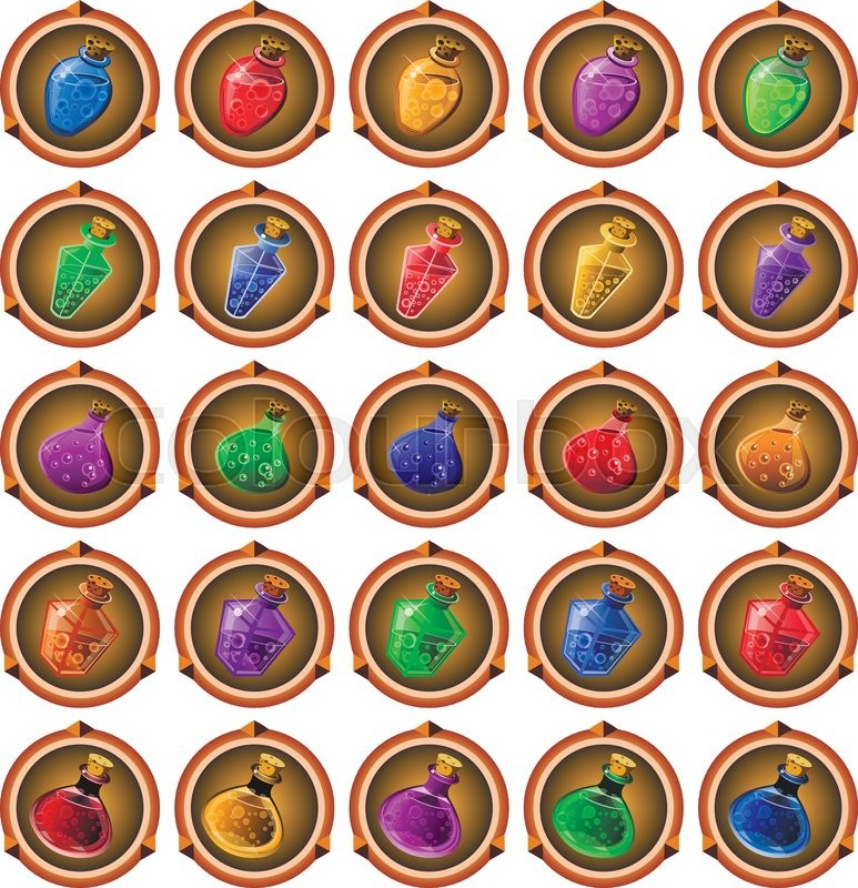 Round icons of ancient magical potions     | Stock vector