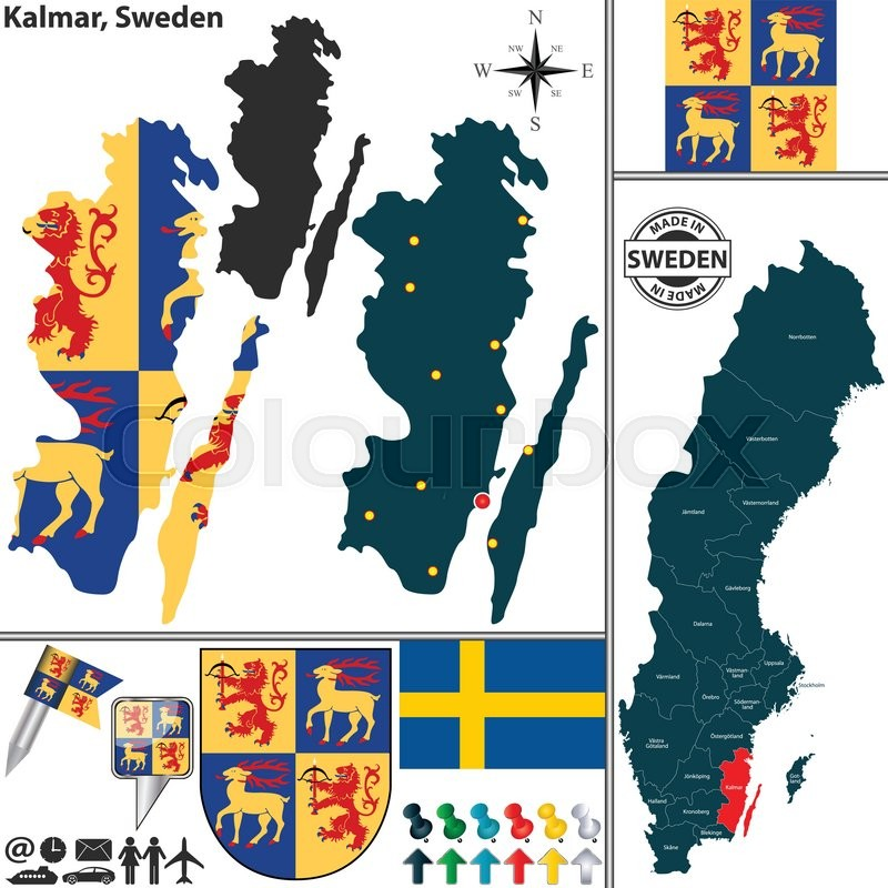 Vector Map Of County Kalmar With Coat Of Arms And Location On - Sweden map location