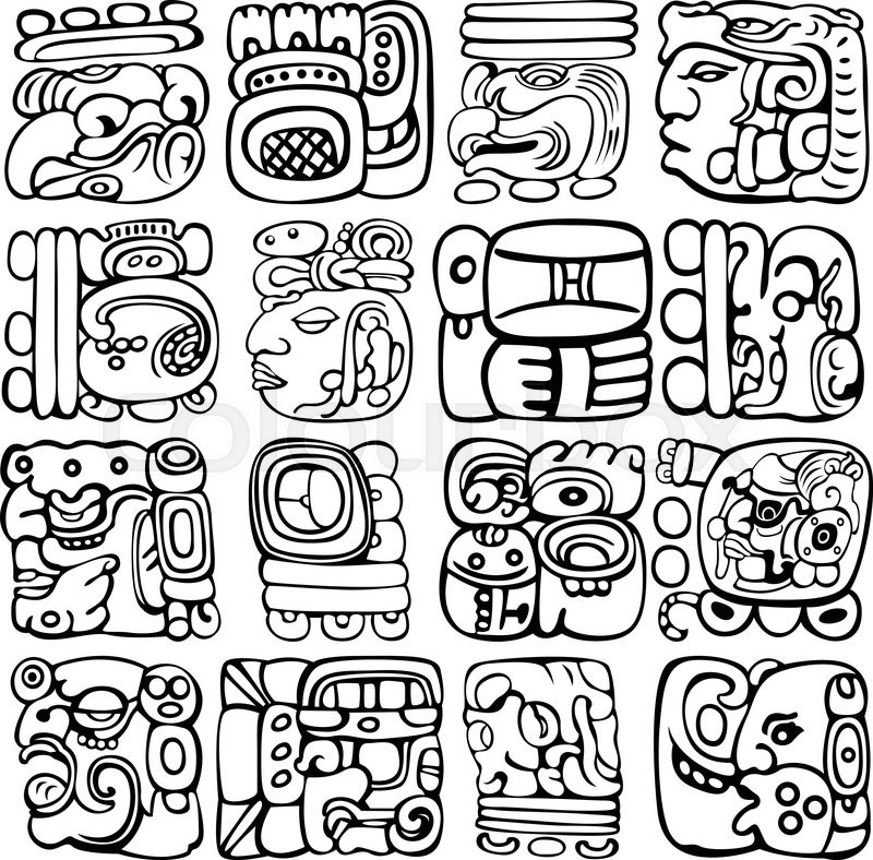 Vector set of Mayan and aztec glyphs with ancient gods and