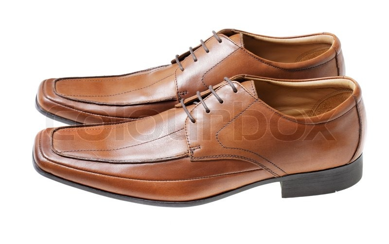 07a2627b Mænds brun læder kjole sko isoleret ... | Stock foto | Colourbox