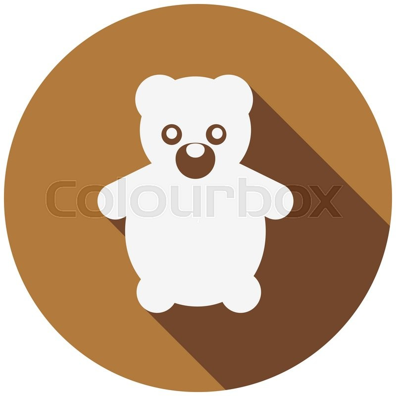 teddy bear flat icon with long shadow stock vector colourbox
