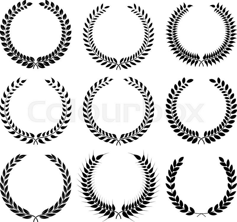 Set Laurel Wreath Symbol Of Victory And Achievement Design