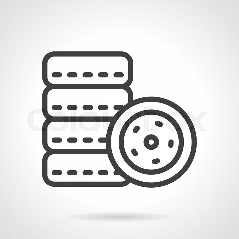 Set Of Automobile Tires Black Simple Line Vector Icon Symbols For