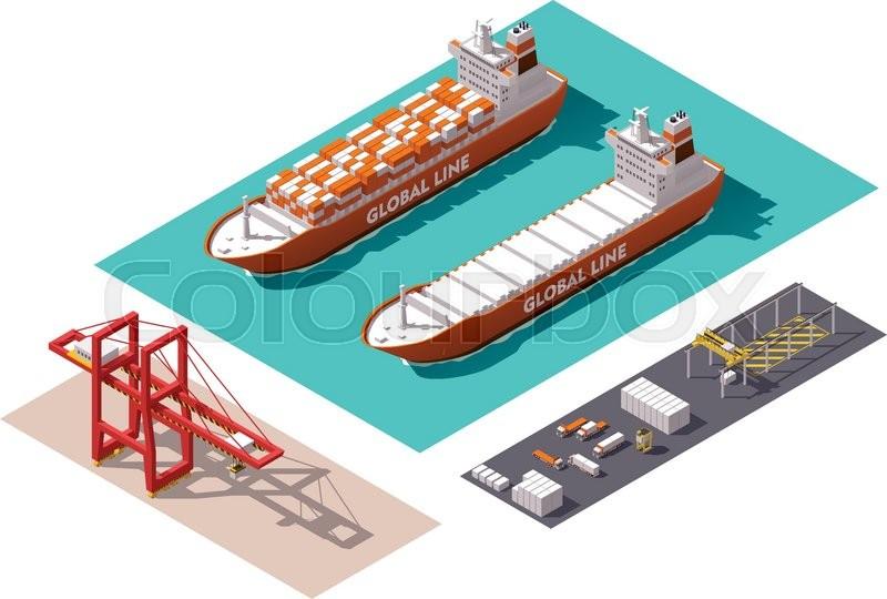 Harbor Freight Gantry Crane >> Isometric cargo port machines and equipment | Stock Vector | Colourbox